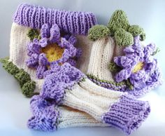 Photo Prop Hand Knit Baby Set Diaper Cover Hat And Leg Warmers With Crocheted Flower Motif Cotton Yarn