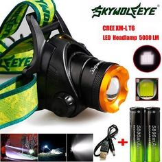 5000LM CREE XM-L T6 Headlamp Headlight Head Light LED+Cable+ 2 18650 Battery lot