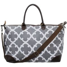 Geometric Clover Print Large Shopping Bag and Tote Bag-Gre