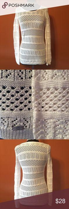 Calvin Klein Winter White Open Stitch Sweater Beautiful Calvin Klein white sweater, size XS, in good condition Calvin Klein Sweaters Crew & Scoop Necks