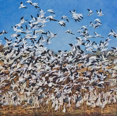 """Original Wildlife Geese Painting, """"Up"""" by Colorado Artist Nancee Jean Busse, Painter of the American West"""