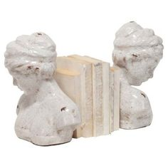 Check out this item at One Kings Lane! Pair of Crackle Bust Bookends, White