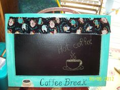 Old Vintage wooden house window that I just finished making into a chalkboard in a retro coffee  theme