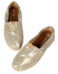 glitter TOMS to wear with glitter dress
