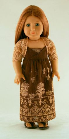 American Girl Doll Clothes - Border Print Maxi Dress and Scrunchy Lace Shrug. $32.00, via Etsy.