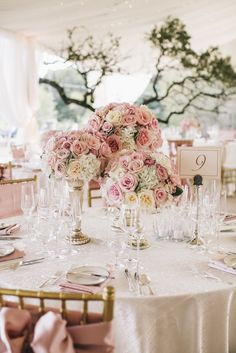 Traditional rose centerpieces