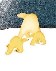 Anxious Trio, by Kananginak Pootoogook (Inuit artist), Cape Dorset, 2004 Arte Inuit, Inuit Art, Native American Artists, Canadian Artists, Illustrations, Illustration Art, Bear Art, Indigenous Art, Aboriginal Art