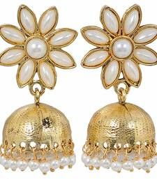 Buy Flower White Pearl Jhumki Earrings jhumka online