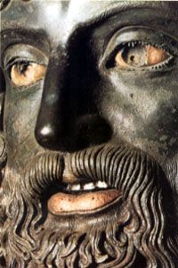 Riace Bronze, detail ancient statue recovered from the ocean.
