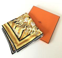 Black & Gold Hermès Silk Scarf