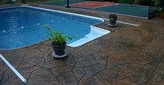 Brown, Stone Concrete Pool Decks Decorative Concrete Construction LLC Columbus, OH