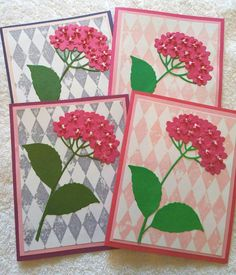 4 Beautiful handcrafted  flower cards.  Flower Cards by 2curlycues