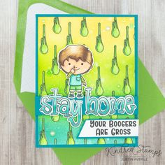 This project uses the National Nose Picking Day and Doodle Lowercase sets by Kindred Stamps. Ink blending done with Catherine Pooler Inks. Colored with Copic Markers. Check out my blog for more details!