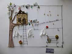 Drahtgeschichten, wire & fabric collage incredibly cute!