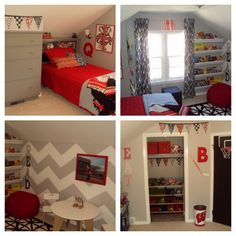 Alek already has red, black and gray but I love the chevron and the flags. A fun element of surprise!