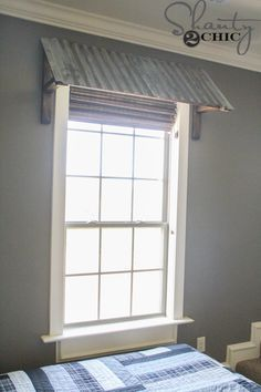 DIY Corrugated Metal Window Awning Love this! This is on the Inside of the Room !  However,  the same concept would apply to The outside of windows to keep The sun out !