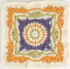 "Day 30: 12"" Block of the Day Pick - Picture Frame by Lisa Naskrent  Free Pattern: http://www.crochetme.com/Crochet-Afghans/  May 2013 #TheCrochetLounge #Crochet #12""Square Pick"