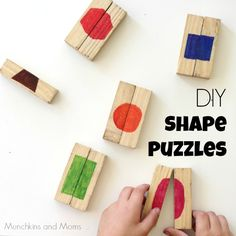 DIY Shape Puzzles- Upcycle blocks to make these simple puzzles for preschoolers! Alphabet Activities, Preschool Activities, Jenga Diy, Jenga Blocks, Puzzle Crafts, Shape Puzzles, Shape Matching, Sensory Bins, Dollar Store Crafts