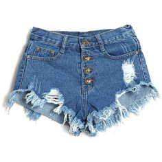 Lookatool Women's Vintage High Waist Jeans Hole Short Jeans Denim... (35 BRL) ❤ liked on Polyvore featuring shorts, vintage shorts, high rise shorts, high-rise shorts, jean shorts and high-waisted denim shorts