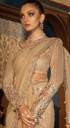 Silver Sandstone Pakistani Wedding/ Party Wear Saree - New Party Wear Dresses, Party Wear Sarees, Designer Wear, Designer Dresses, Saree Designs Party Wear, Winter Formal Dresses, Pakistani Outfits, Saree Styles, Bridal Outfits