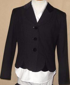 Morgan Miller Women's Black Polyester Blend Blazer with Velvet Collar Size 10 #MorganMiller #Blazer