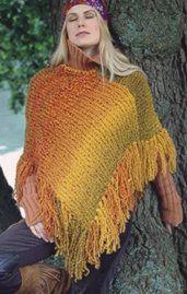 Free Knitting Pattern - Women's Ponchos: Rainbow Poncho