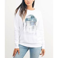 Junk Food Electric White R2-D2 Tee ($40) ❤ liked on Polyvore featuring tops, t-shirts, white tee, white cotton t shirts, cotton t shirts, junk food clothing and white cotton tops