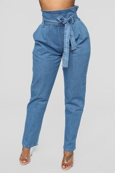 Main Thang Paperbag Waist Jeans - Medium Wash Girls Jeans, Mom Jeans, Skinny Jeans, Jeans Pants, Trousers, Jean Outfits, Chic Outfits, Fashion Outfits, Paper Bag Jeans