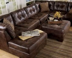 Martino Leather Chaise Sectional Sofa