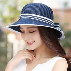 Striped bow straw hat for women summer beach sun hats cheap sale