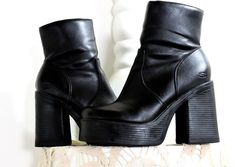 4f85ef0e6c2 90s chunky ankle boots   size US 8   1990s Sketchers platform boots   black  vegan ankle boots   boho grunge 90s boots   SunnyBohoVintage