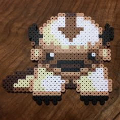 Appa - Avatar perler beads by Michael Carrillo Perler Bead Templates, Pearler Bead Patterns, Perler Patterns, Pearler Beads, Pixel Beads, Fuse Beads, Cross Stich Patterns Free, 8bit Art, Pixel Pattern