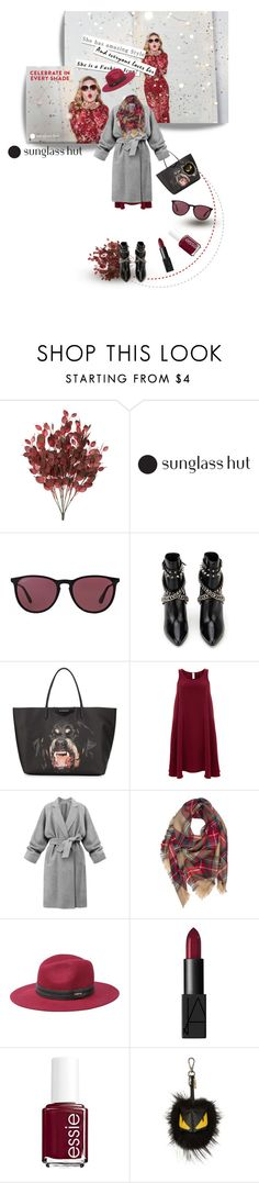 """""""sun glass hut"""" by ozgeelfaba ❤ liked on Polyvore featuring Ray-Ban, Yves Saint Laurent, Givenchy, Finery London, Bebe, NARS Cosmetics, Essie and Fendi"""