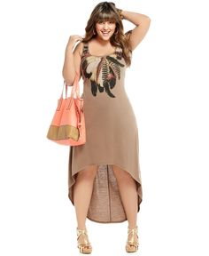 L8ter Plus Size Dress, Sleeveless Printed High Low Maxi - at Macy's So cute!