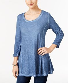 Style & Co. Burnout Knit Top, Only at Macy's - Tops - Women - Macy's
