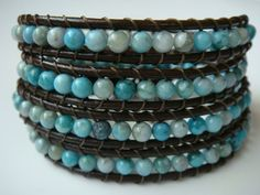 Turquoise Jasper and leather bracelet  tinacdesigns.etsy.com