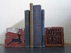Do What You Are Afraid To Do Ralph Waldo Emerson Quotation Engraved Terra Cotta Brick Bookend Home Decor