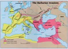 VERSCHIJNSEL Op de foto zie je dat er volksverhuizingen plaatsvonden. Volken vertrokken overal heen. Dit luidde het einde van het Romeinse rijk in.