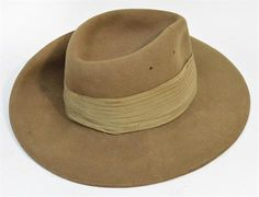 """A British WWII military Slouch hat with maker details """"W.A. Hatton Lt. Atherstone 1941"""""""