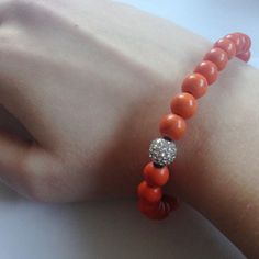 Orange Beaded Boho Bracelet with Diamond Bead Orange Beaded Boho Bracelet with Diamond Bead Jewelry Bracelets