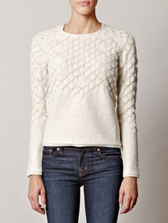 Maison Martin Margiela Fish Scale Knit Sweater in White