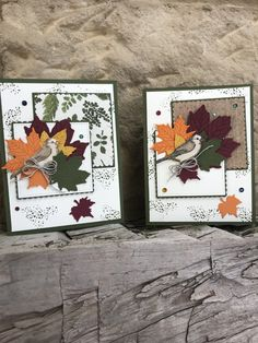 Gather Together is the stamp set and the Gathered Leaves die is the set we worked with last night at card class. I love how this card turned out and Thanks to my niece Annabel we changed it up some… Leaf Cards, Bird Cards, Fall Cards, Holiday Cards, Leaf Images, Stamping Up Cards, Thanksgiving Cards, Ink Pads, Homemade Cards