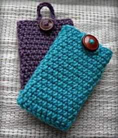 Crochet Cell Phone Case, iPhone Sleeve with Button Closure - Made to Order. $7.00, via Etsy.