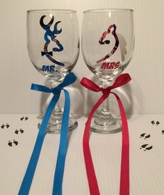 A personal favorite from my Etsy shop https://www.etsy.com/listing/272778062/camo-buck-doe-deer-wine-glasses-set-of
