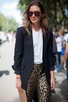 21 Stylish Ways To Wear A Plain White T Shirt - classic black blazer, white t-shirt, + statement-making gold leopard print pants