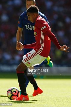 Manchester United's English midfielder Jesse Lingard scores the opening goal in the FA Community Shield football match between Manchester…