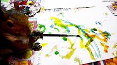 Savant squirrel paints like Pollock!