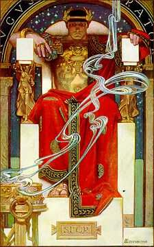 """ancient or recent 'emperor' [Joseph Christian Leyendecker 1905 illustration from """"A Christmas Hymn"""" within Century Magazine] Art And Illustration, American Illustration, Illustrations And Posters, Magazine Illustration, Jc Leyendecker, Kunst Poster, Norman Rockwell, Gay Art, Art Nouveau"""