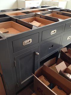 recessed cabinet hardware + dark color cabinets