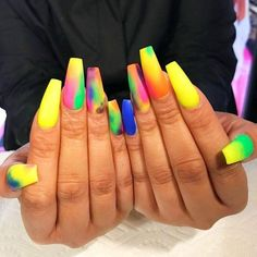 30 Ideas of Bright Manicure for Nails of Different Colors. Colorful Nail Designs, Acrylic Nail Designs, Nail Art Designs, Nails Design, Dope Nails, Fun Nails, Gorgeous Nails, Pretty Nails, Bright Summer Nails